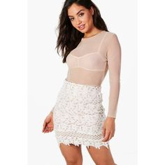 Boohoo Carmela Contrast Lining Crochet Lace Mini Skirt ($16) ❤ liked on Polyvore featuring skirts, mini skirts, short maxi skirt, pleated mini skirt, pleated skirt, maxi circle skirt and short pleated skirt