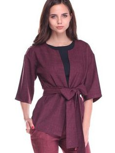 7dbb2450d70 Plum Casual Half Sleeve Solid Cropped Jacket with Belt Belt Online