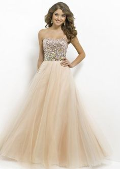 Champagne Long Strapless Sparkly Beaded Ball Gown