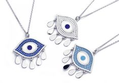 Trendy evil eye necklace designs create a protective shield against the evil eye. Evil Eye Pendant, Evil Eye Necklace, Necklace Designs, Silver Necklaces, Washer Necklace, Eyes, Create, Gold, Jewelry
