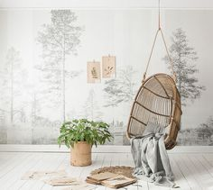 Impressive forest wallpaper mural by Scandinavian Surface. Available in 6 beautiful colours. Scandinavian Wallpaper, Scandinavian Design, Swedish Design, Danish Design, Home Interior, Interior Styling, Interior Design, Mood Wallpaper, Photo Wallpaper