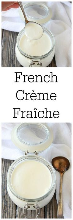 """Our French Crème Fraîche Recipe tastes amazing and is very similar to sour cream in the United States. Creme fraiche is a thick fermented dairy product and it's literal translation means """"Fresh Cream"""". French Soup, French Dishes, Easy French Recipes, Low Carb Recipes, Cooking Recipes, Cooking Tips, Traditional French Recipes, European Cuisine, Cooking For Beginners"""