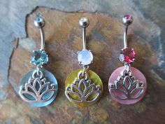 Silver Lotus Flower & Mother of Pearl by BohemianBodyJewellry