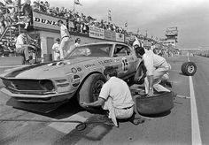 George Follmer - Ford Mustang Boss 302 - Bud Moore Engineering - Edmonton International Speedway - Trans-Am Edmonton - 1971 Trans-Am, round 4 Ford Mustang 1965, Ford Mustang Shelby Cobra, Mustang Boss 302, Road Racing, Auto Racing, Vintage Race Car, Vintage Auto, Vintage Mustang, Old Race Cars
