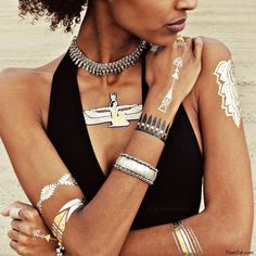 Native. Egyptian. Indian. Wild.-Get wild with our free-spirited collection of Flash Tattoos! Created in collaboration with Child of Wild designer Eileen Lofgren, this set features ancient Egyptian gly