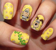 Wallace and Gromit nails! Love these from Polish Art Addiction. Creative Nail Designs, Creative Nails, Nail Polish Designs, Nail Art Designs, Cute Nails, Pretty Nails, Shiny Nails, Funky Nails, Crazy Nails