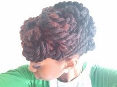 (18. Go anywhere hair inspiration)  I have a big afro, and I love how versatile it is. Afro-textured hair can be styled so many different ways. I plan on getting a similar color to this, this summer. Twisted updos are elegant and different and i cant wait to style my hair like this  #modcloth #makeitwork