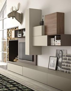 2017 – 2018 new tv wall unit models. New tv wall panel The system is a new proposal which exalts the aesthetical, functional and up-to-date contents of tao day from which it derives. Living Room Wall Units, Living Room Tv Unit Designs, Living Room Colors, Interior Design Living Room, Living Room Decor, Modern Tv Wall Units, Muebles Living, Tv Wall Design, Furniture Design
