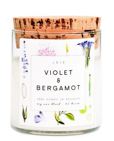 Leif's botanically blended candles beautifully burn with a wooden wick and a strongly scented soy wax blend. Violet & bergamot: fruity notes of apple, melon, orange & bergamot with undertones of laven