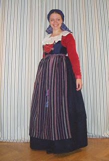 My folk costume from the south-west corner (more specifically, Oxie, Vemmenhögs, Skytts och Bara härader) , of the county Skåne (Scania) in ...