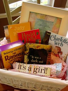 Start their book collection. Fun Baby shower idea! when the time comes you can get this fo rmy baby shower :)