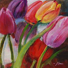 """Olieverf """"gekleurde tulpen"""" maat 14x14 cm op paneel te koop voor euro 75,00 + verzendkosten email mij voor bijzonderheden."""
