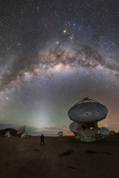 The Milky Way over the Alma Observatory in Chile. Photo by P. Places To Travel, Places To Go, Landscape Photography, Nature Photography, Chile, Night Sky Wallpaper, Alien Worlds, Space Photos, Space And Astronomy