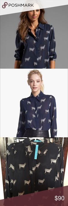 Alice and Olivia zebra silk blouse Navy blue and black. 100%silk dry clean only Alice + Olivia Tops Blouses