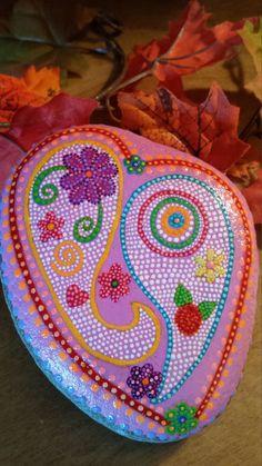 hand painted mandala stone, gratitude, meditation, bohemian decor,February finds, lovely