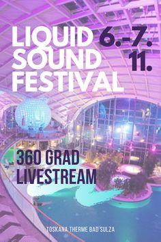 """Das Liquid Sound Festival in der Toskana Therme Bad Sulza findet vom 06.-07.11.2020 statt! Sei im 360 Grad Livestream dabei, wenn die Musiker, DJs und Künstler über den Liquid Sound Pools der Toskana Therme auftreten. Sichere dir jetzt dein vergünstigtes Ticket mit dem Code """"Orangenfalter"""". #lsf #liquidsoundfestival #liquidsound #toskanatherme #immersiv #360grad #stream #live #konzert #festival #lockdown"""