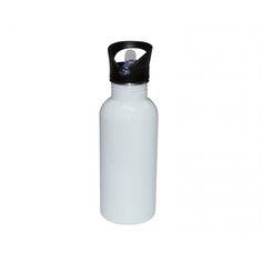Fahrradflasche, Weiß, mit Mundstück und Halm, 500 ml – Beney Plus