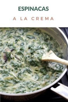 Simple recipe for Creamy Spinach, made with white sauce. They can use fresh or frozen spinach. Spinach Recipes, Vegetable Recipes, Vegetarian Recipes, Cooking Recipes, Healthy Recipes, White Sauce Recipes, Pasta Sauce, Chilean Recipes, Creamy Spinach