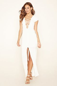 Lace-Up Knit Maxi Dress