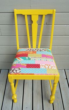patchwork chair.... So easy! I can see this done in a million different color combinations