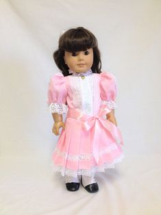 "Pretty Pink Embroidered Linen Dress fits 18/"" American Girl Samantha Victorian"