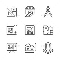 Set Line Icons of Architectural by moto-rama Set Line Icons of Architectural Isolated on White �20Available RGB color �20Good choice for use in infographic and interface Atta