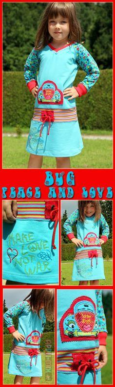 Stickdatei: Tinimi - LoveBug freebie  Raglan-V-Shirt von ki-ba-doo (in der Taille mit Bündchen versehen und in A-Form zum Kleid verlängert)