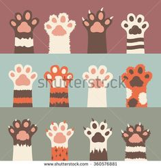 cats paw icon set, isolated on background. simple cartoon flat style, vector illustration. - stock vector