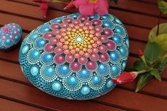 Summer dream hand-painted stone mandala by AnjaSonneborn on Etsy