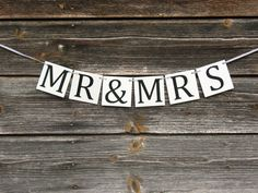 MR & MRS Wedding Banners Date Signs Sweetheart Table Banner Rustic Chic Wedding Decor Bridal shower (12.00 USD) by WonderfulBanner
