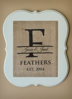 Create your own personalized burlap wall art.
