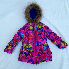Rothschild Girls Youth Size 4T Bright Colors With Faux Fur Trim Puffer Coat  #Rothschild #PufferJacket #Everyday