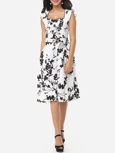 #Fashionmia - #Fashionmia Floral Printed Bowknot Graceful Sweet Heart Skater-dress - AdoreWe.com