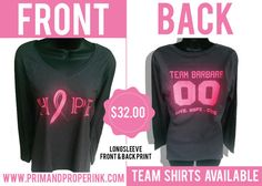Team Shirts:  Breast Cancer Awareness Shirts Long by PRIMPROPERINK