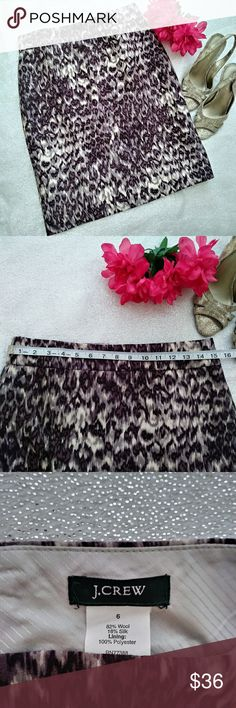 Wool Silk Blend Lavender Shades Pencil Skirt Wool Silk Blend Lavender Shades Pencil Skirt Fully Lined Back Zipper See Pics for Measurements J. Crew Skirts Midi