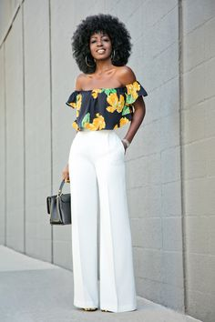 Style Pantry | Floral Off Shoulder Blouse + White High Waist Pants