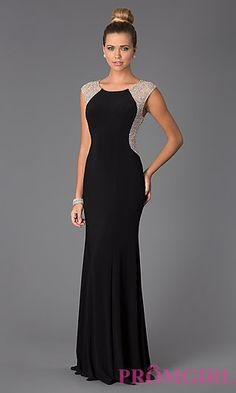 Long Black Xscape Gown for Prom at PromGirl.com