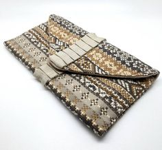 Patterened Envelope Clutch Bag Coin Purse Wallet Brown Beige Grey White Stone Gift for Women Cotton Magnetic Snap Coin Purse Wallet, Clutch Bag, White Clutch, Aztec Designs, Envelope Clutch, Brown Beige, Gifts For Women, My Etsy Shop, Purses