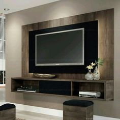 Great Idea Modern TV Wall Design Ideas For Stunning Living Room Decoration Nowadays TV is often found on walls, but when it comes to deciding how you want to make the perfect TV wall, it might be difficult to choose the right. Tv Unit Design, Tv Wall Design, House Design, Design Room, Tv Wall Decor, Wall Tv, Wood Wall, Decor Room, Tv Panel