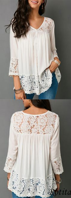 Lace Patchwork Button Up White Blouse - Outfits Trendy Tops For Women, Creation Couture, Patchwork Dress, White Casual, Shirts & Tops, Lace Tops, Sewing Clothes, Capsule Wardrobe, Lace Dress