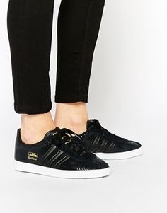 2fdcc566e76 adidas Originals Gazelle All Black Trainers Black Leather Shoes
