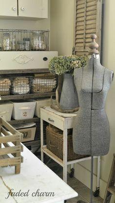 vintage-y organized laundry/mud room