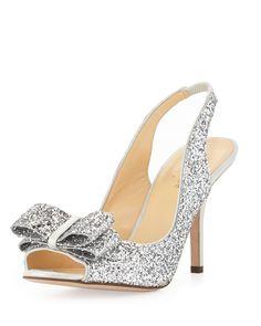 charm glittered bow slingback, silver by kate spade new york at Neiman Marcus. www.MadamPaloozaEmporium.com www.facebook.com/MadamPalooza