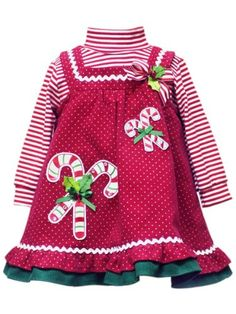 Rare Editions Baby Baby-Girls Infant Candy Cane Pindot Corduroy Jumper