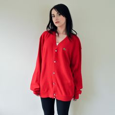 '70s Red Lacoste Cardigan by LaCoste