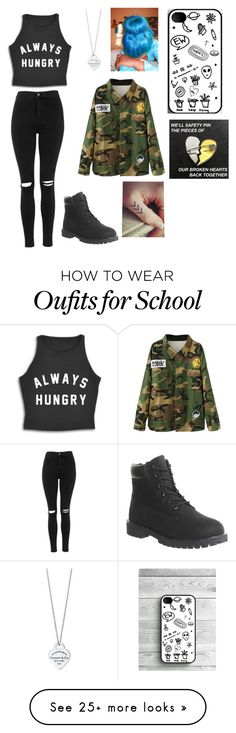 """Going to school"" by stylesassygirl on Polyvore featuring Topshop, Timberland and Tiffany & Co."