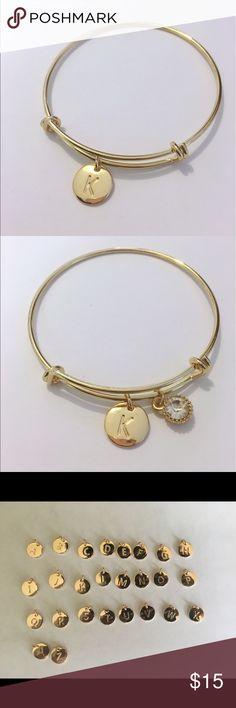 K initial adjustable bracelet Gold plated adjustable bracelets. Let me your initial Jewelry Bracelets