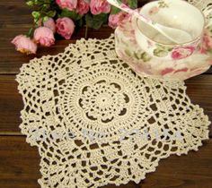 Aliexpress.com : Buy 20x20cm crochet beige table mats handmade doilies placemats,  Free Shipping from Reliable table mat suppliers on Handmade Shop $11.80 Crochet Table Mat, Crochet Doilies, Handmade Shop, Chains, Beige, Make It Yourself, Free Shipping, Home Decor, Decoration Home