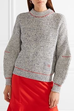 Victoria Beckham | Embroidered cotton and wool-blend sweater | NET-A-PORTER.COM