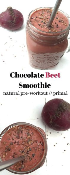 Chocolate Beet Smoothie - combo of chocolate and beets packs the vitamins, minerals, & antioxidants makes a perfect snack or pre-workout meal. - Eat the Gains (Beet Smoothie Recipes) Beet Smoothie, Fruit Smoothies, Healthy Smoothies, Healthy Drinks, Smoothie Recipes, Healthy Snacks, Healthy Fats, Chocolate Smoothies, Healthy Breakfasts